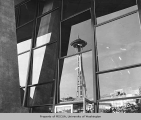Space Needle reflected off of the Washington State Coliseum, Century 21 Exposition, 1962