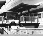 Monorail trains at terminal, Century 21 Exposition, 1962