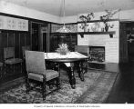 Charles H. Clarke residence showing dining room interior, n.d.