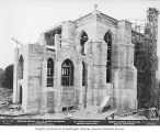 St. Mark's Episcopal Cathedral under construction, with scaffolding and workers, Seattle,...