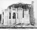 St. Mark's Episcopal Cathedral under construction showing brick piles and scaffolding, Seattle,...