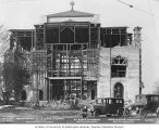 St. Mark's Episcopal Cathedral under construction, with two cars parked in front, Seattle,...