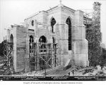 St. Mark's Episcopal Cathedral under construction, side view with scaffolding, Seattle,...
