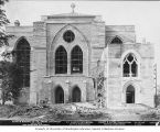 St. Mark's Episcopal Cathedral under construction, east facade almost completed, Seattle,...