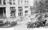 Fire Department vehicles in front of the Cobb Building, 4th Ave. northwest corner University St.,...