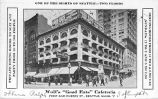 "Wolf's ""Good Eats"" Cafeteria located in the Scheuerman Block, 1st Ave. and Cherry St.,..."