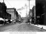 1st Ave. S. looking north from Main St., Seattle, 1899-1900