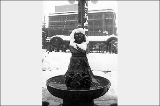 Chief Seattle fountain covered in snow, Pioneer Square, n.d.