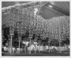 Reflective cubes under construction for the World of Tomorrow Exhibit, Seattle World's Fair,...