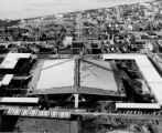 Aerial view of the nearly completed Washington State Coliseum, Seattle World's Fair, 1962