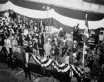 Joseph E. Gandy addressing a crowd gathered to welcome the Mexican luxury liner Acapulco to the...
