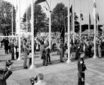 Crowd gathered in the Plaza of the States during the Seattle World's Fair, Washington, 1962