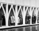 Crowd gathered under the arches of the U.S. Science Pavilion, Seattle World's Fair, May 5, 1962