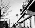 Alweg Monorail under construction with the Space Needle in the background, Seattle, Washington,...