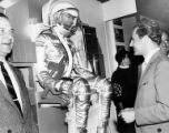 Russian cosmonaut Gherman Titov, at right, visiting the NASA Exhibit at the Seattle World's Fair,...