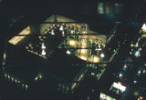 Aerial view of the U.S. Science Pavilion at night, Seattle World's Fair, May, 1962