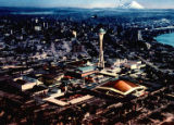Aerial view of the Century 21 Exposition fairgrounds, artist's conception, Seattle, Washington,...
