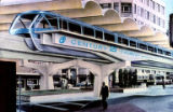 Alweg monorail at the Century 21 Exposition, artist's conception, Seattle, Washington, December,...