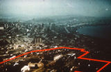 Downtown Seattle with future site of the Century 21 Exposition outlined in red, 1960