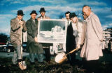 Seattle World's Fair officials at a ground breaking ceremony at the future site of the U.S....