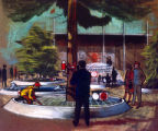 Forest Products Pavilion interior, artist's rendering, Seattle World's Fair, 1962