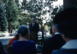 Alden B. Couch addressing a crowd, Seattle, Washington, October, 1960