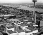 Aerial view of Century 21 Exposition fairgrounds under construction, Seattle, Washington, 1962
