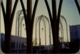 Arches outside of the U.S. Science Pavilion at dawn, Century 21 Exposition, 1962