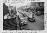 Line of traffic along University Way NE, south of NE 45th Street, University District, July, 1946