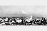Panorama of downtown Seattle and Mt. Rainier looking southeast, ca. 1921