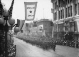 "Parade banner reading ""Welcome Home"", Seattle, ca. 1917-ca. 1920"