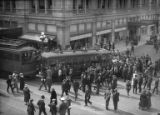 Crowd gathered around trolley collision at 6th Ave. and Pine St., Seattle, ca. 1917-ca. 1920