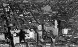 Aerial view of Seattle looking northeast showing the Smith Tower at Yesler Way and 2nd Ave at...