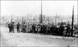 Aftermath of the Seattle fire of June 6, 1889 from 1st Ave. S. showing Washington National...