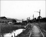 Electric railway and station of the Seattle, Renton and Southern Railway Co. at Rainier Beach, ca....