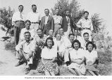 Japanese American men and women, probably at the Tule Lake Relocation Center, California, ca....