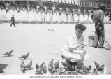 Angela Bussemaker in Venice, Italy, possibly in Piazza San Marco, n.d.