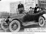 John F. Miller and others in automobile campaigning for Congress, probably Seattle, 1916