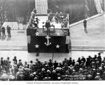 Man, possibly John Franklin Miller speaking to audience at Puget Sound Navy Yard, Congress,...