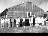 Hospital staff in front of hospital, Minidoka Relocation Center, ca. 1943-1945