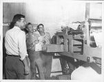 Issue of the Tacoma Reporter being printed by one of the Tacoma Labor Advocate's printing presses,...