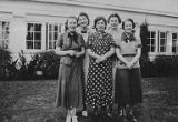 Group of five women standing in front of building, Oakhurst Sanitorium, Elma, March 1937