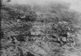 Aerial view destroyed town of Combles, France, World War I, ca. 1914-1916