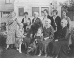 Group of women from the Washington State and Seattle Federation of Women's Clubs on lawn in front...