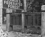 Sign at the Women's Federated Forest listing donors, ca. 1960s