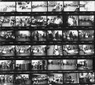 Contact sheet containing 36 images of an El Teatro del Piojo performance at the Washington State...