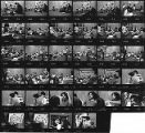 Contact sheet containing 34 images of El Teatro del Piojo rehearsal with Tomás Ybarra-Frausto,...