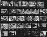 Contact sheet containing 30 images of El Teatro del Piojo rehearsal including portraits of Tomás...
