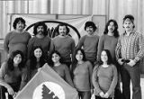 El Teatro del Piojo members posing with United Farm Workers Flag, during a Teatro del Piojo...