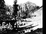 Hikers at camp site, probably Cascade Mountains, ca. 1935
